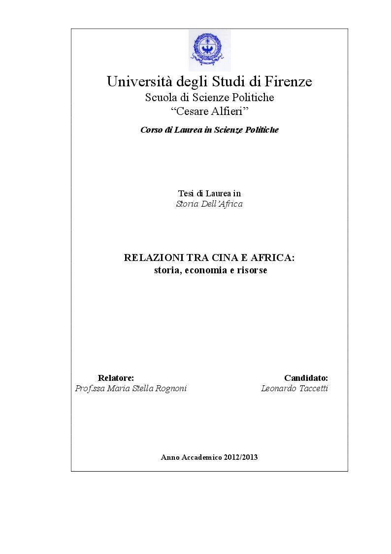 Anteprima della tesi: Relazioni tra Cina e Africa: storia, economia e risorse, Pagina 1