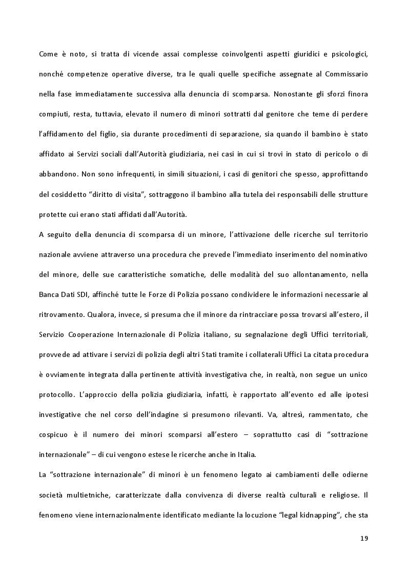 Estratto dalla tesi: Dinamiche tecniche e psicologiche sulla scomparsa dei minori