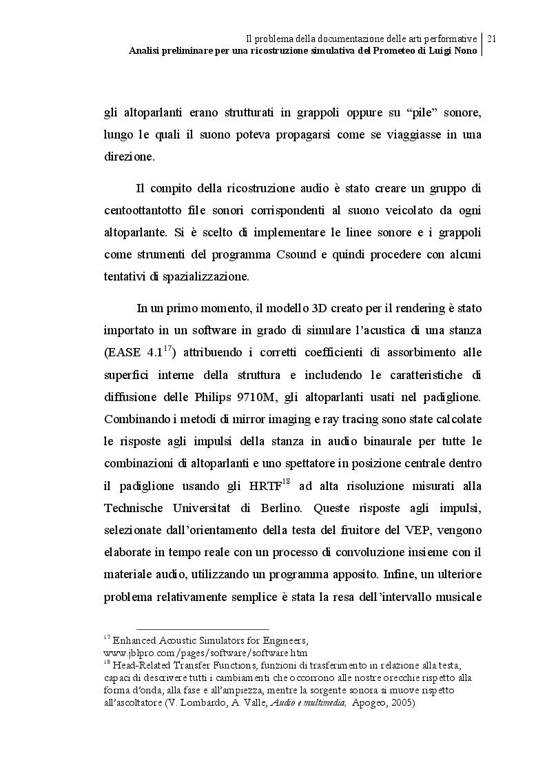 Estratto dalla tesi: Analisi preliminare per una ricostruzione simulativa del Prometeo di Luigi Nono
