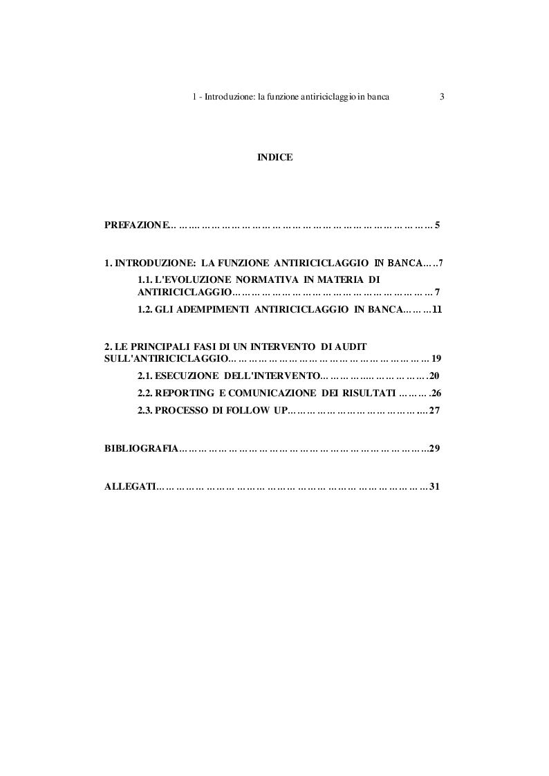 Indice della tesi: L'Audit sul processo antiriciclaggio: alcune problematiche per le banche minori, Pagina 1