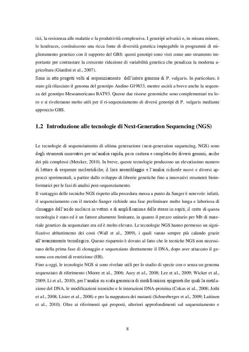 Estratto dalla tesi: Genotipizzazione di accessioni di Phaseolus vulgaris L. mediante tecnologie di next-generation sequencing