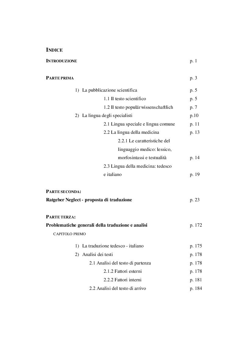 Indice della tesi: Ratgeber Neglect: proposta di traduzione e analisi di un testo scientifico divulgativo, Pagina 1