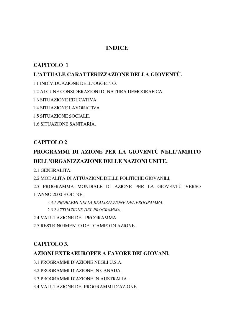 Indice della tesi: Genesi e prospettive della politica europea per la gioventù, Pagina 1