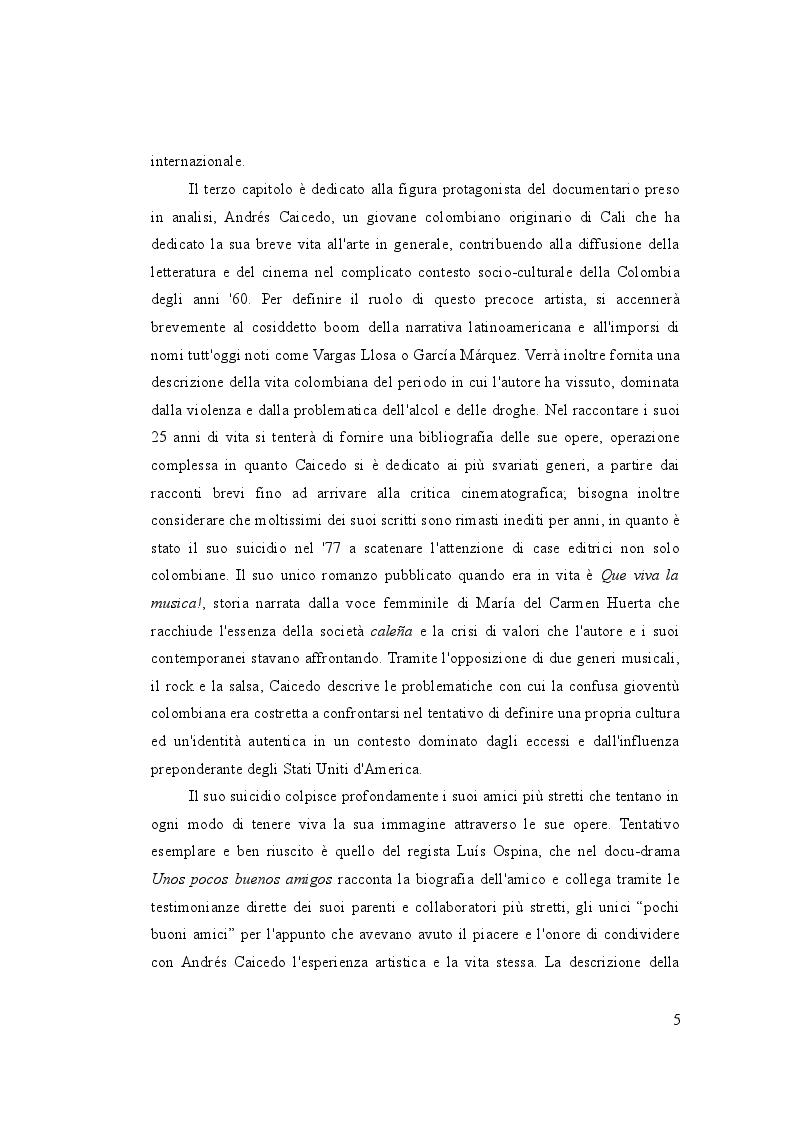 Anteprima della tesi: Letteratura sullo schermo. Traduzione e sottotitolaggio del documentario ''Unos pocos buenos amigos'' di Luis Ospina, Pagina 4