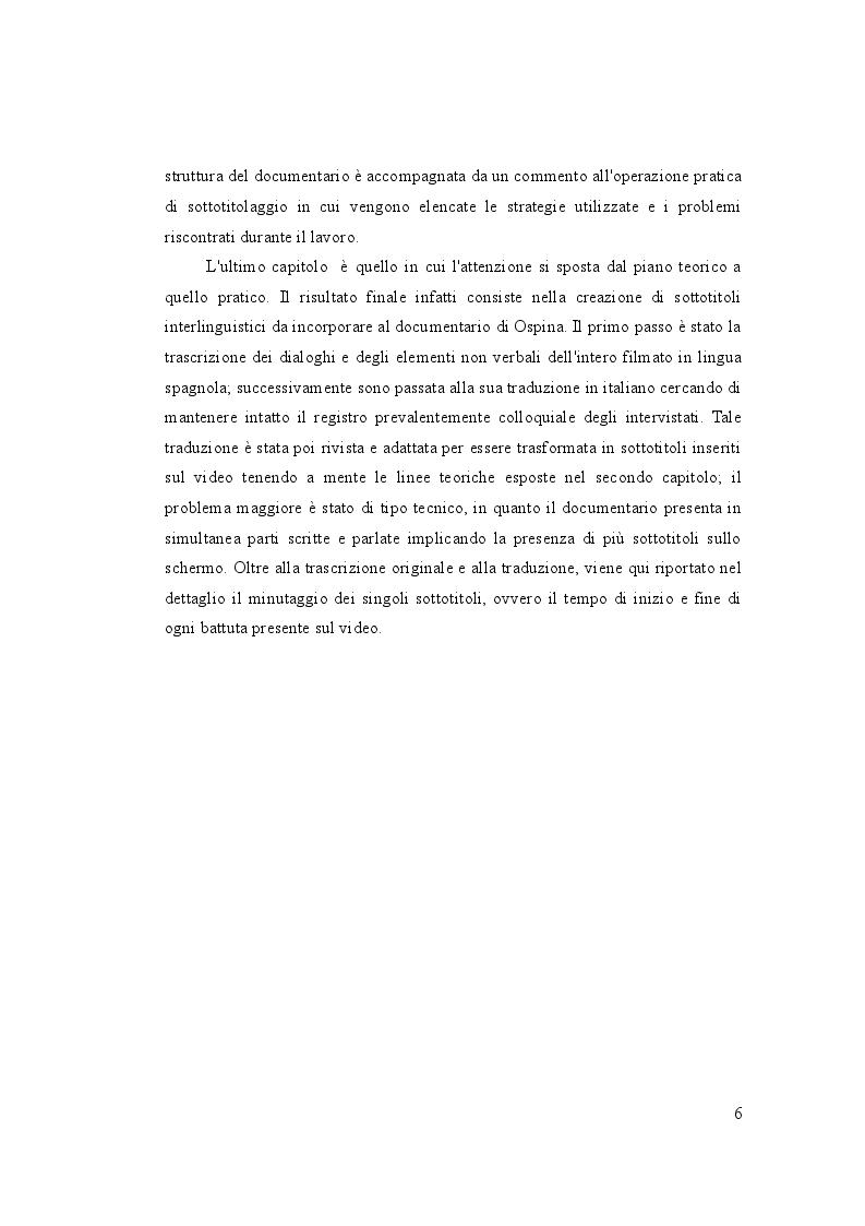 Anteprima della tesi: Letteratura sullo schermo. Traduzione e sottotitolaggio del documentario ''Unos pocos buenos amigos'' di Luis Ospina, Pagina 5