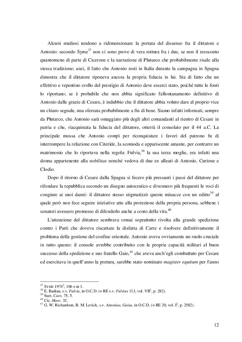 Estratto dalla tesi: Il ruolo di Cesare, Cicerone e Ottaviano nell'ascesa e caduta di Marco Antonio