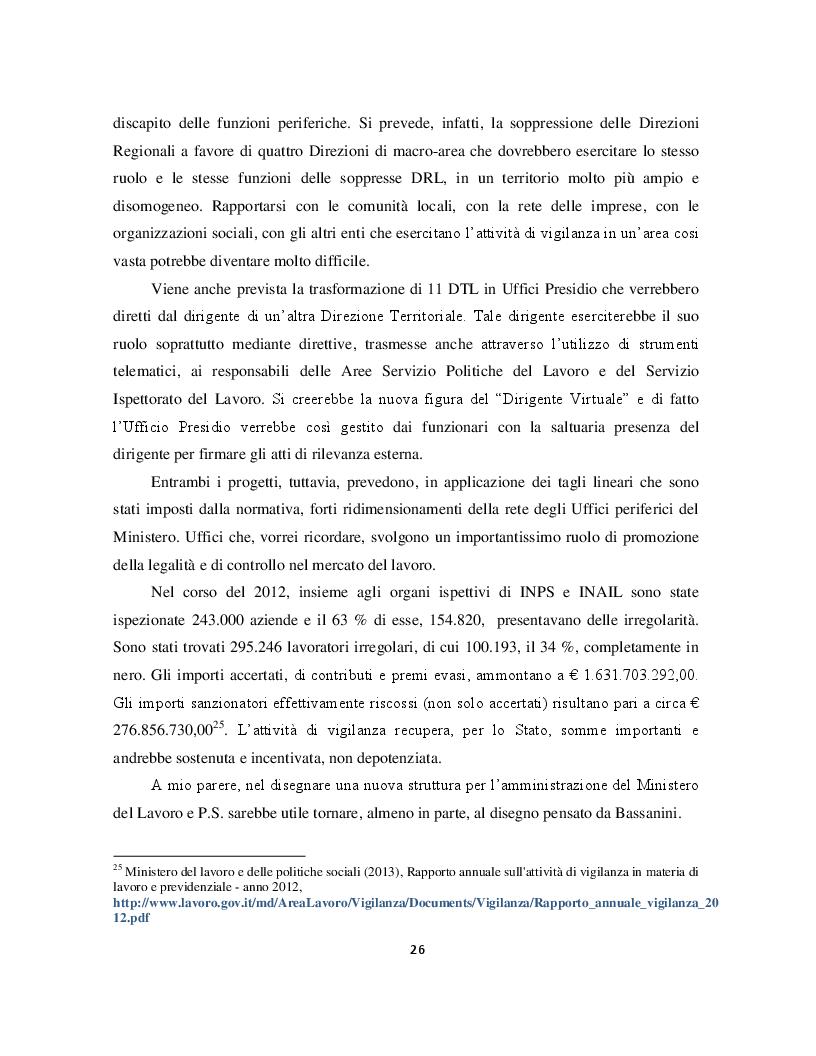 Estratto dalla tesi: I processi di riorganizzazione del Ministero del Lavoro e delle Politiche Sociali