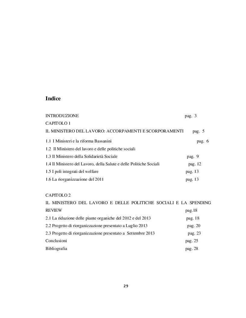 Indice della tesi: I processi di riorganizzazione del Ministero del Lavoro e delle Politiche Sociali, Pagina 1