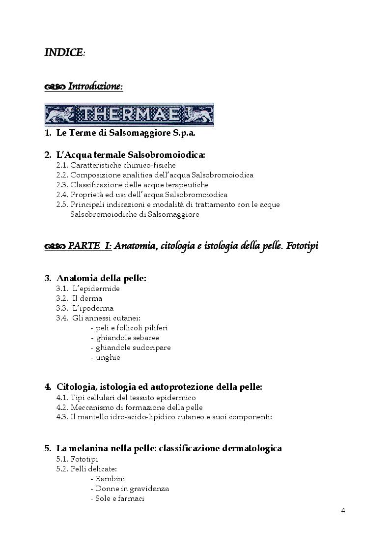 Indice della tesi: Linea dermocosmetica delle Terme di Salsomaggiore S.p.A.: l'esposizione solare e lo studio di un prodotto a base di acqua termale, in sinergia con un complesso attivatore dell'abbronzatura, Pagina 1