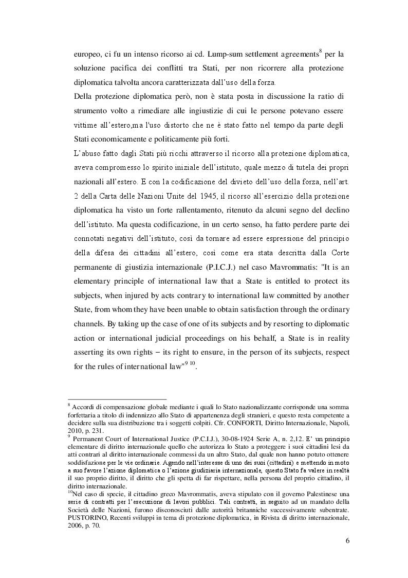 Estratto dalla tesi: La Protezione Diplomatica delle società
