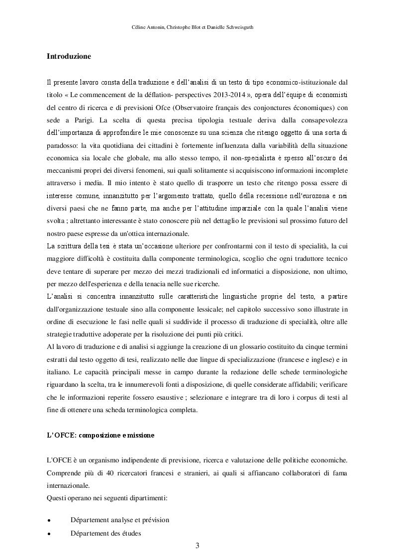 Traduzione e commento del testo ''Le commencement de la d�flation - Perspectives 2013-2014'' dell'Ofce - Tesi di Laurea