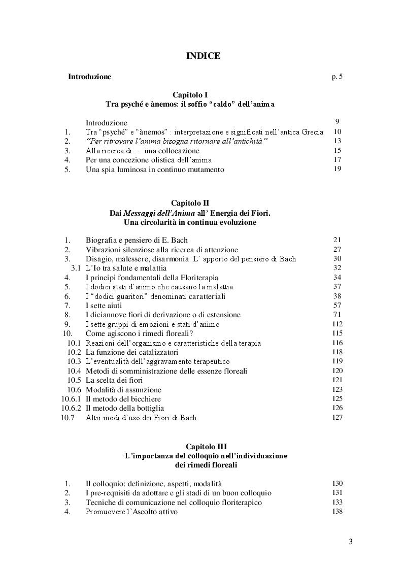 Indice della tesi: Alla ri-scoperta dei rimedi floreali di E. Bach. Ànemos, energia, soma: una unità inscindibile, Pagina 1