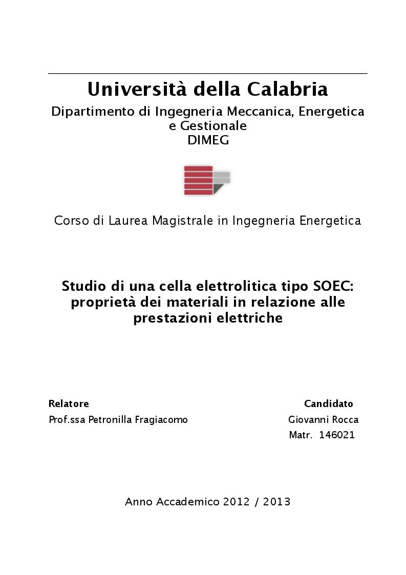 Anteprima della tesi: Studio di una cella elettrolitica tipo SOEC: proprietà dei materiali in relazione alle prestazioni elettriche, Pagina 1