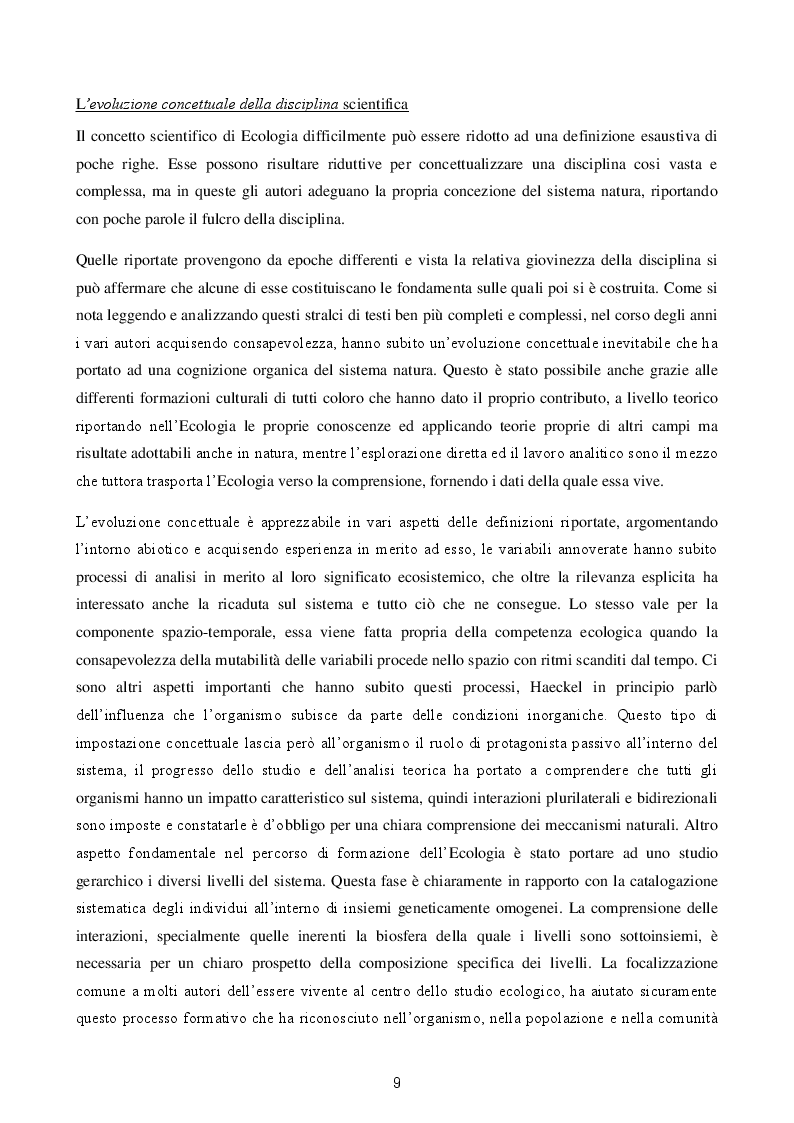 Estratto dalla tesi: Ecologia: un'epigrafe ambigua per una scienza multidisciplinare.