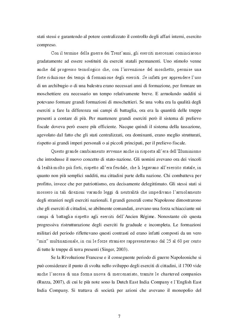 Estratto dalla tesi: Le Private Military Firms e lo Stato. Un confronto sul monopolio della forza