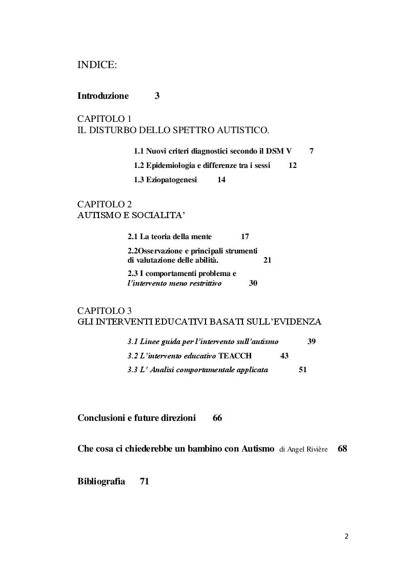 Indice della tesi: Autismo e interventi educativi basati sull'evidenza, Pagina 1