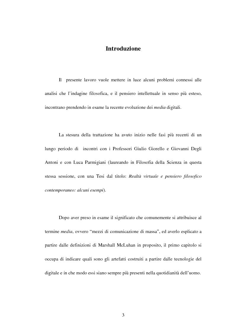 Anteprima della tesi: La recente evoluzione dei media digitali e le sue conseguenze sul pensiero filosofico, Pagina 1