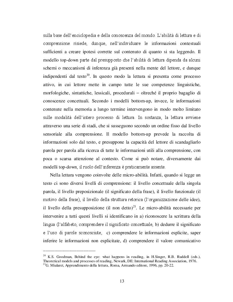 Estratto dalla tesi: Lingua Italiana e abilità di lettura. Competenze, Indagini, Percorsi di insegnamento