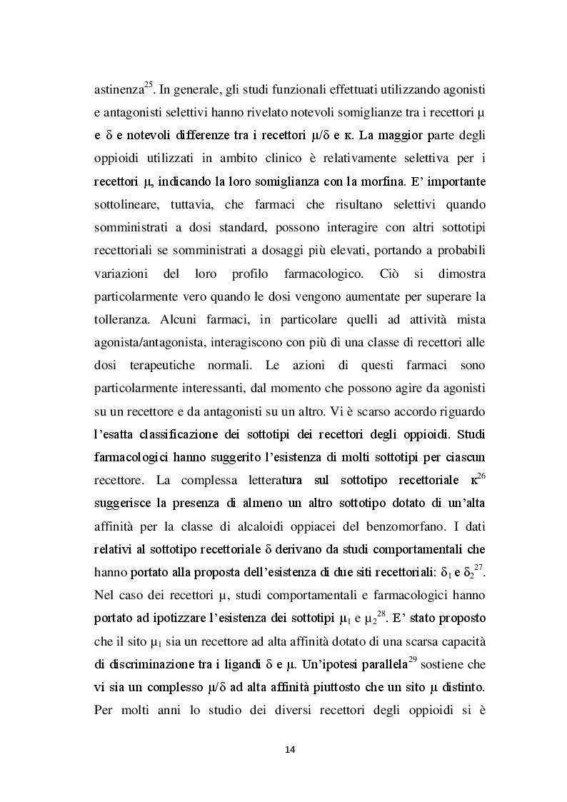 Estratto dalla tesi: Coinvolgimento del rilascio spinale di α-neoendorfina sull'effetto antinocicettivo del Tyr-D-Arg-Phe-β-Ala (TAPA)