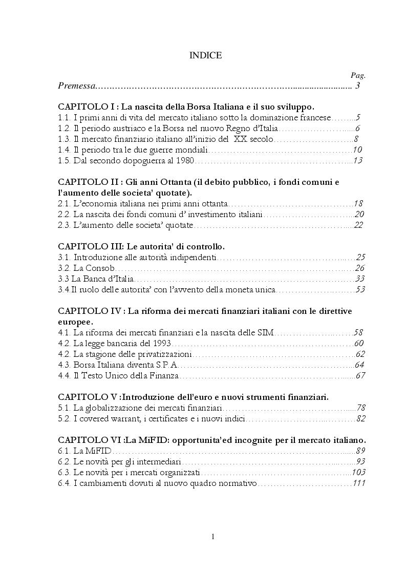 Indice della tesi: Il mercato mobiliare italiano dagli anni '80 alla fusione con il LSE : aspetti normativi e strutturali, Pagina 1