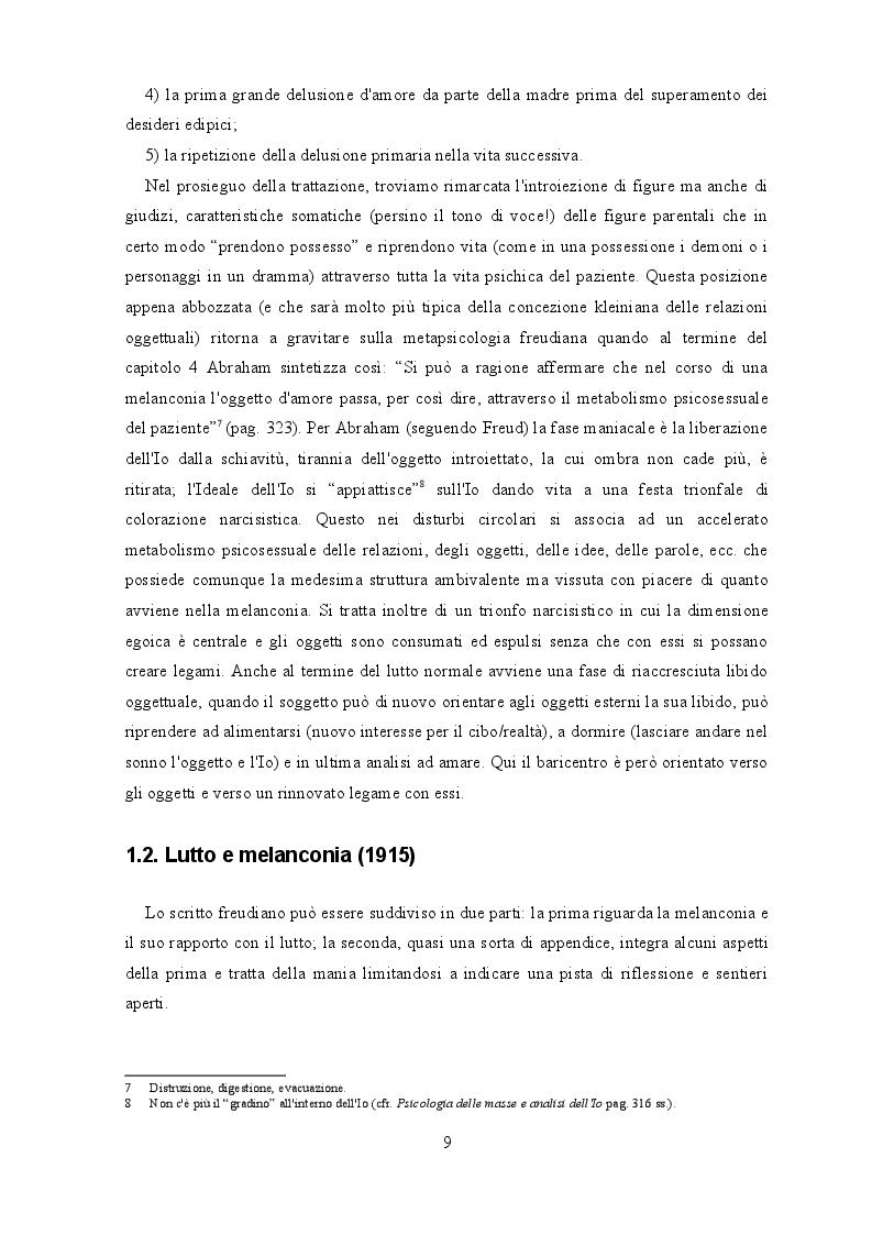 Estratto dalla tesi: ''Lutto e melanconia'': un percorso da Freud alla psicoanalisi contemporanea