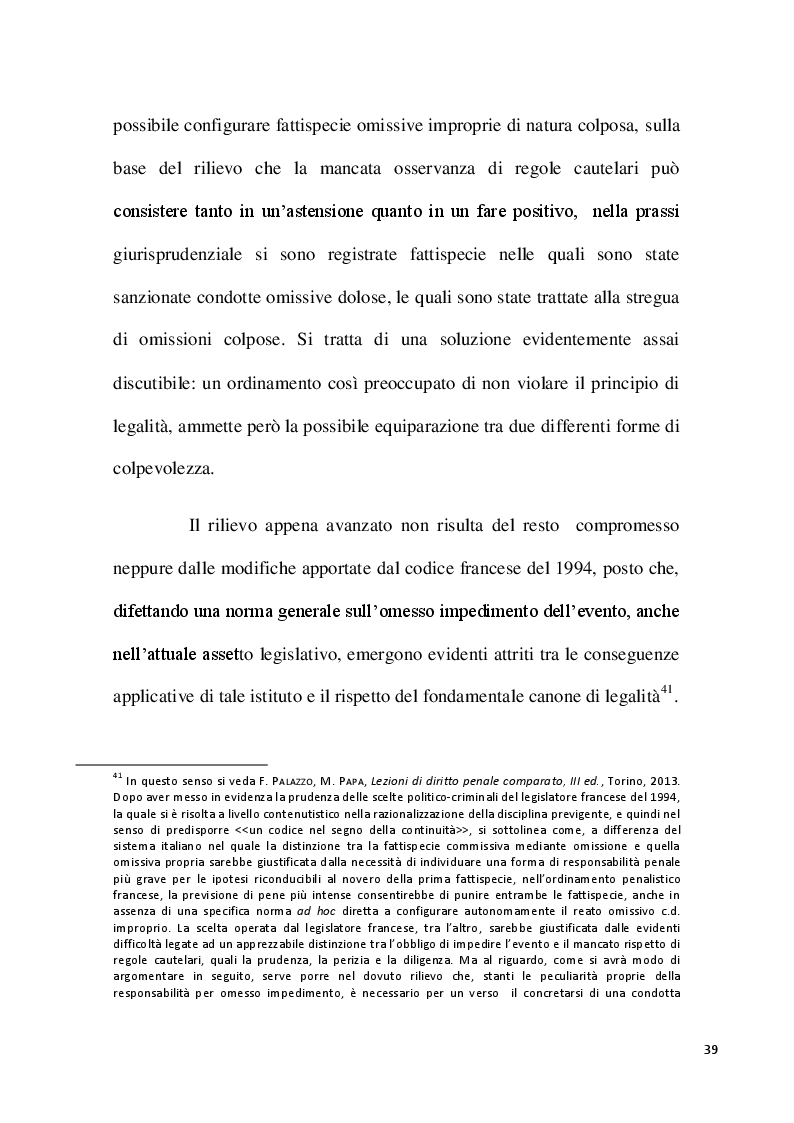 Estratto dalla tesi: Il reato commissivo mediante omissione - Il reato omissivo improprio