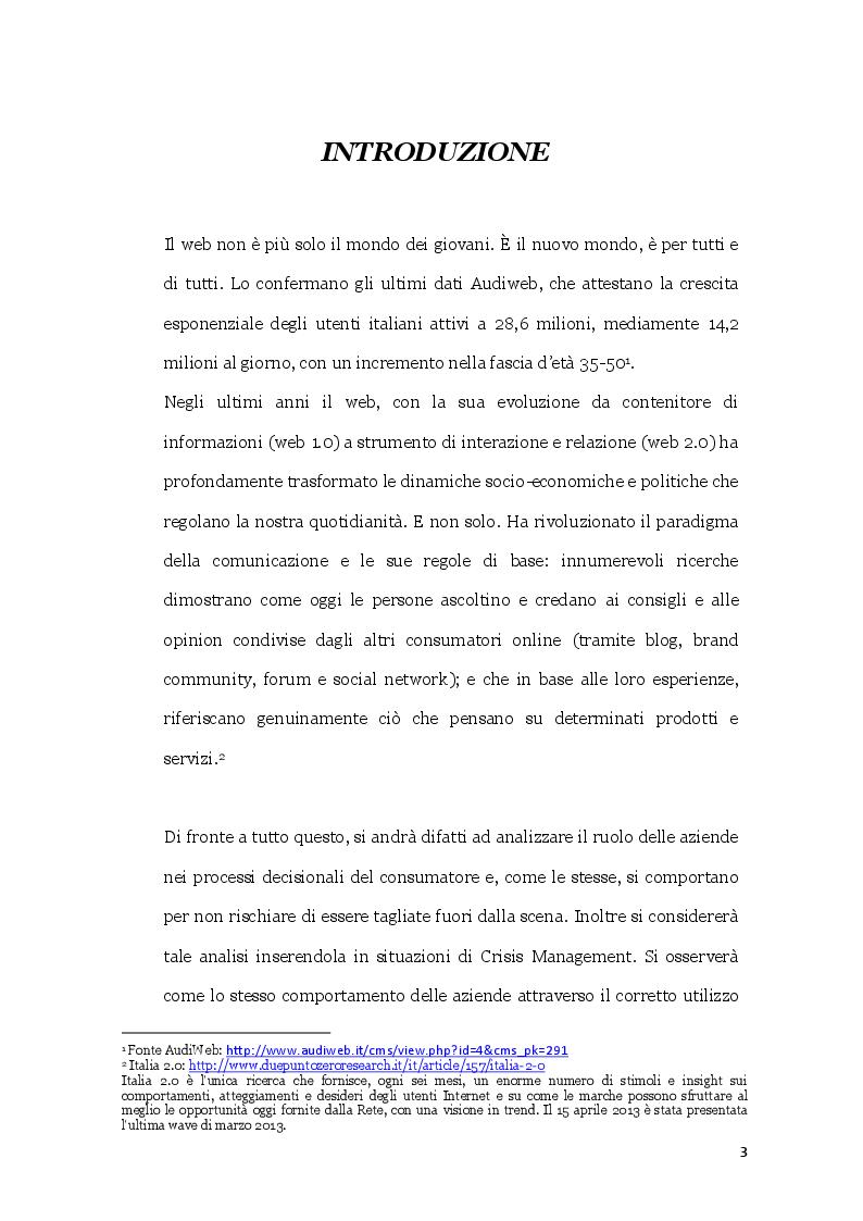 Anteprima della tesi: Il ruolo dei Consumer Generated Media nel Crisis Management. Il Caso Pirelli Tyregate, Pagina 2