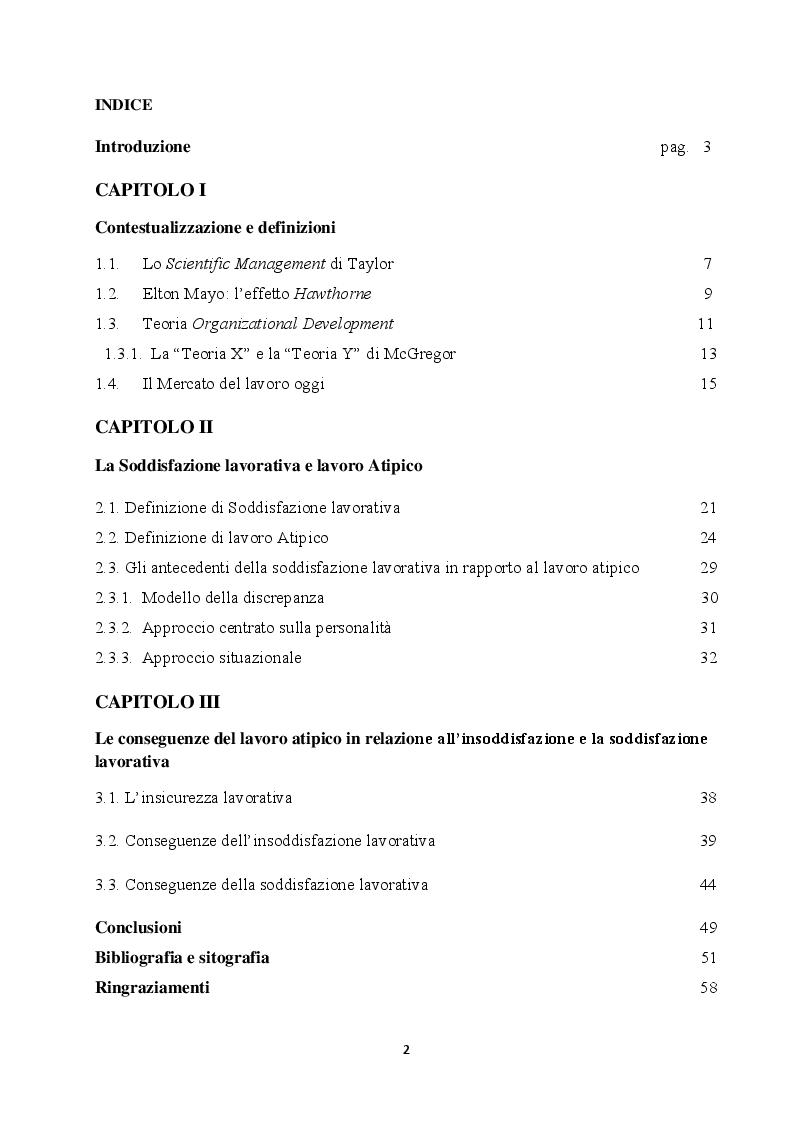 Indice della tesi: La soddisfazione e l'insoddisfazione lavorativa nei lavoratori atipici, Pagina 1
