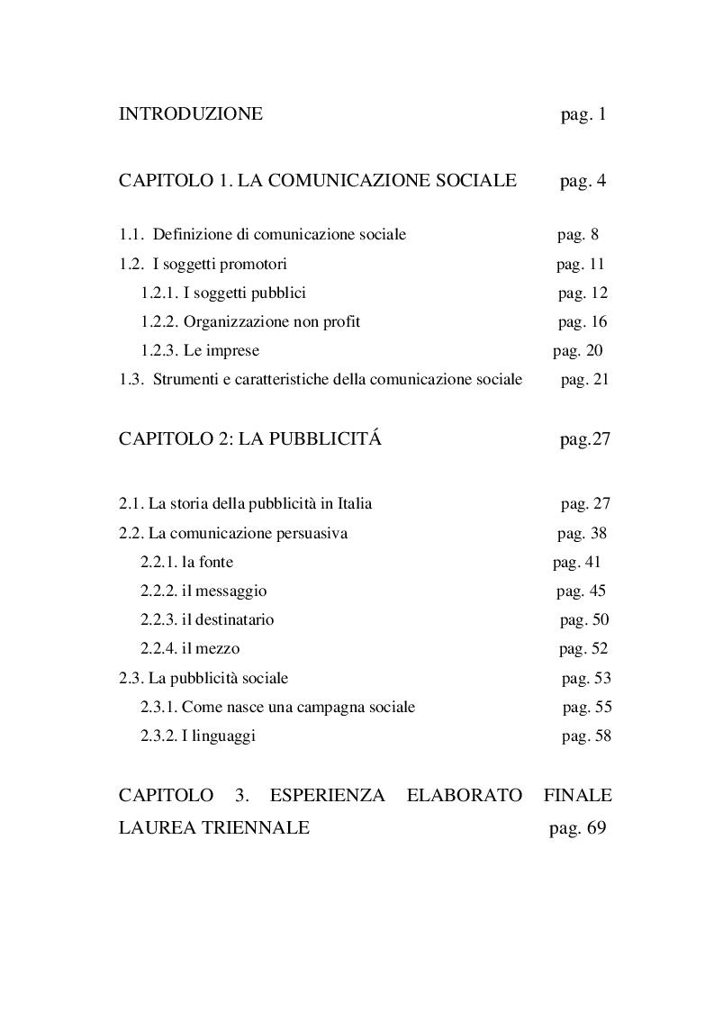 Indice della tesi: Pubblicità sociale e web communication: il caso delle adozioni internazionali, Pagina 1