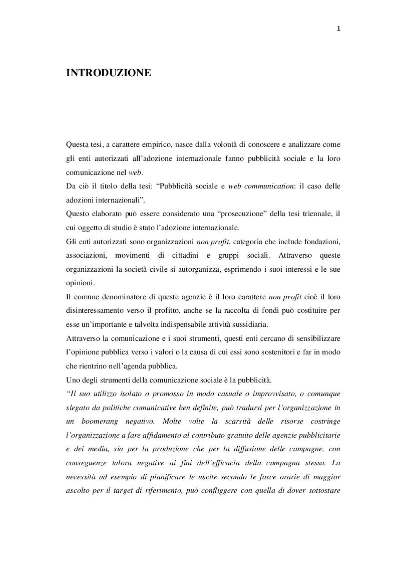 Pubblicit� sociale e web communication: il caso delle adozioni internazionali - Tesi di Laurea