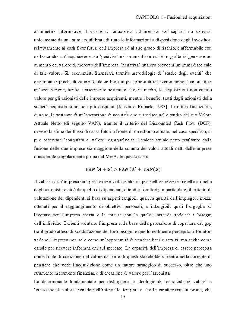 Estratto dalla tesi: Il processo di integrazione post-acquisizione: aspetti metodologici e analisi di un caso aziendale