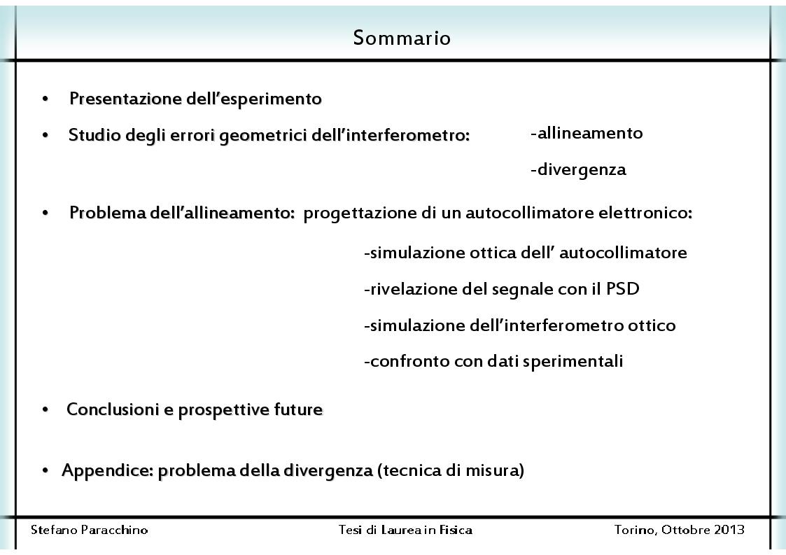 Indice della tesi: Studio degli errori geometrici di un interferometro ottico subnanometrico, Pagina 1
