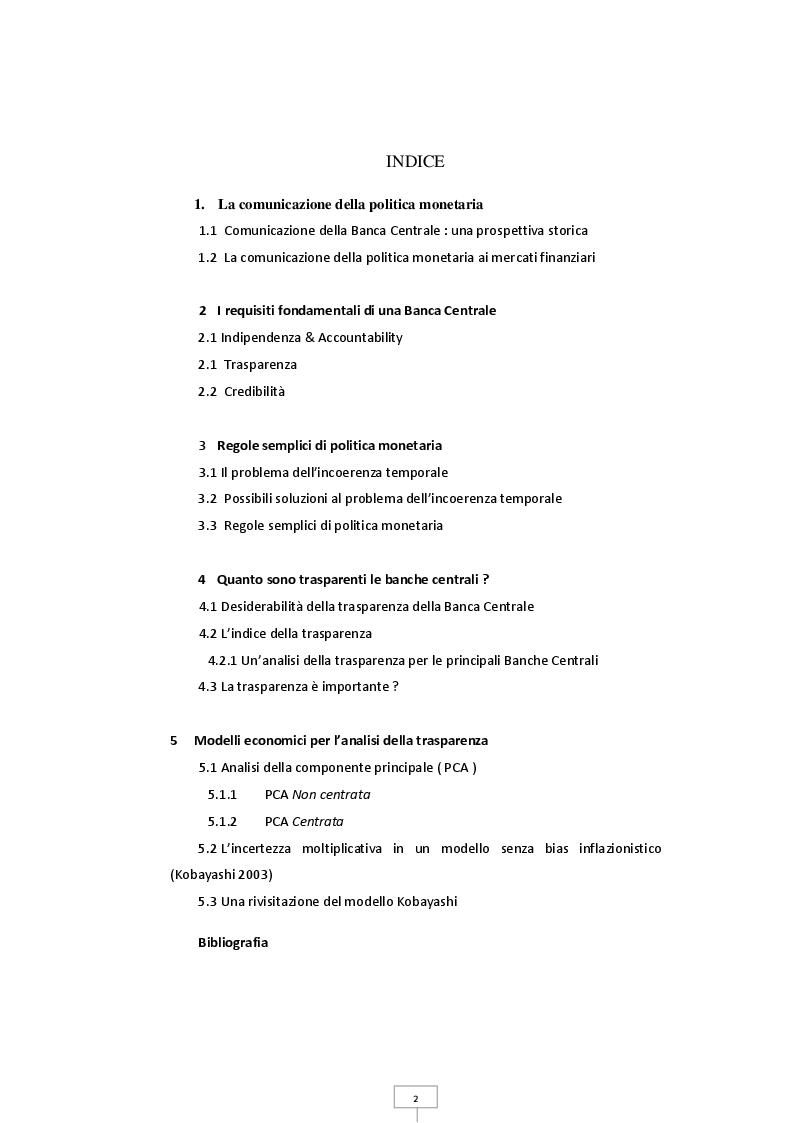 Indice della tesi: Trasparenza e credibilità nella gestione della politica monetaria, Pagina 1