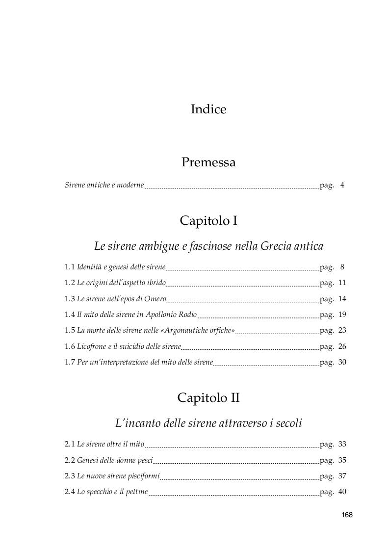 Indice della tesi: Il fascino perturbante della sirena: dal mito omerico alla contemporaneità, Pagina 1