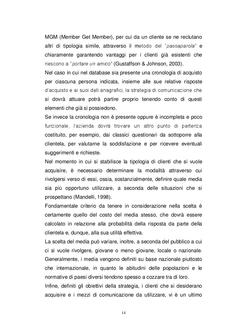 Estratto dalla tesi: Direct Marketing: esperienze d'uso sul mercato italiano