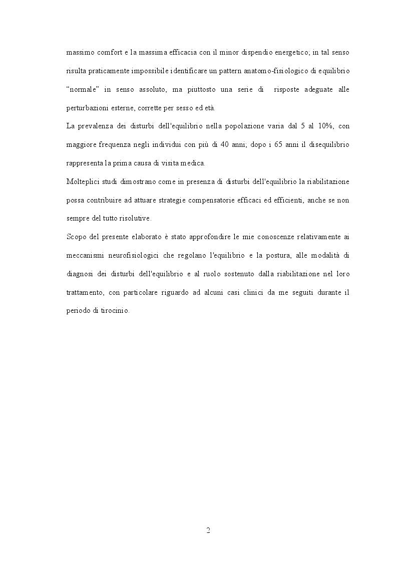 Anteprima della tesi: Trattamento riabilitativo dei disturbi dell'equilibrio, Pagina 3