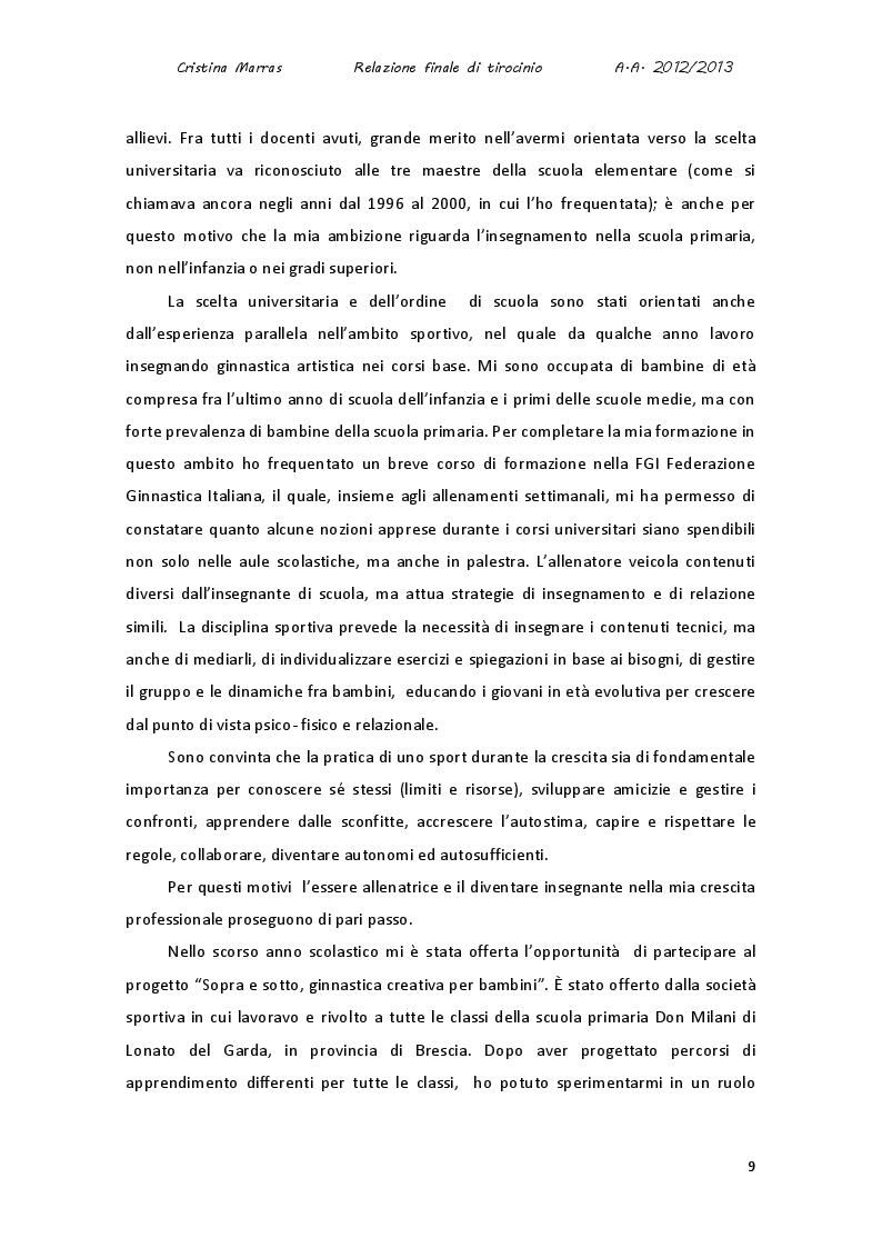 Estratto dalla tesi: Le potenzialità comunicative dei linguaggi espressivi. Un percorso di scoperta e sperimentazione dei linguaggi grafico, motorio e musicale in classe prima.