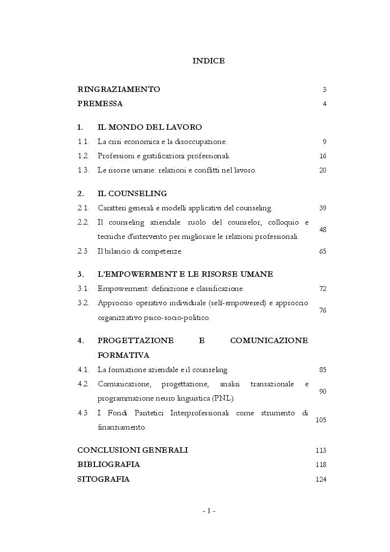 Indice della tesi: Il Counseling nel mondo del lavoro: empowerment, progettazione e comunicazione formativa nelle aziende, Pagina 1