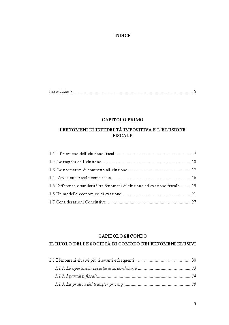 Indice della tesi: Pratiche elusive e loro contrasto: il caso delle società di comodo , Pagina 1
