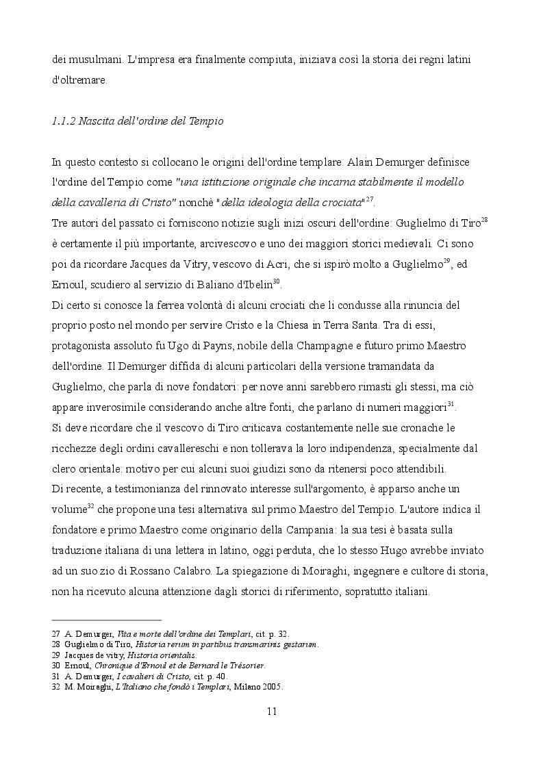 Estratto dalla tesi: BOLOGNA TEMPLARE. Quadro generale delle fonti italiane sulla presenza del Tempio nella città felsinea.