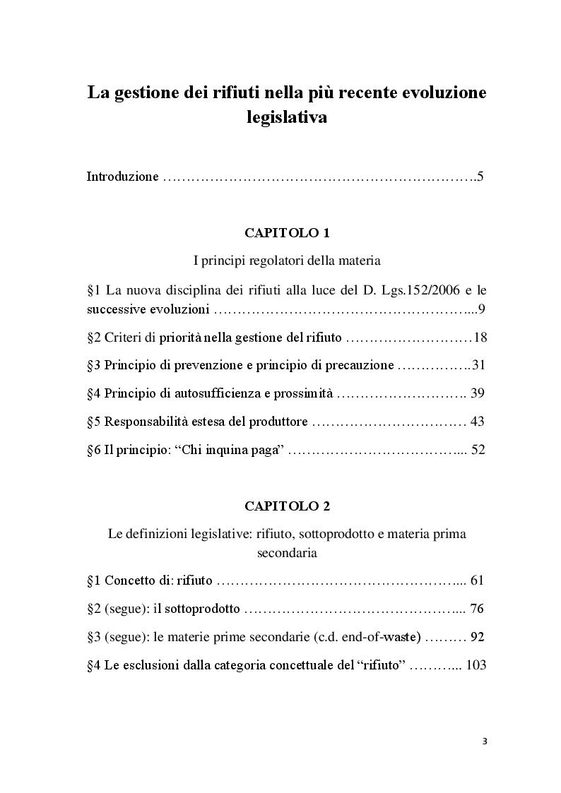 Indice della tesi: La gestione dei rifiuti nella più recente evoluzione legislativa, Pagina 1