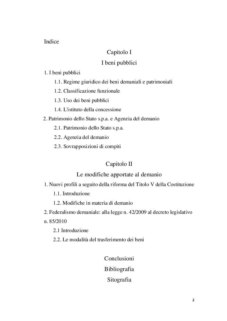 Indice della tesi: I beni pubblici e le modifiche apportate al demanio, Pagina 1