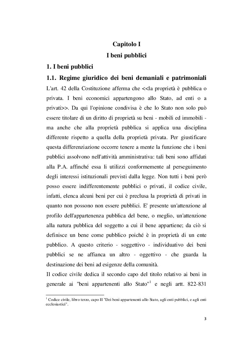 Anteprima della tesi: I beni pubblici e le modifiche apportate al demanio, Pagina 2