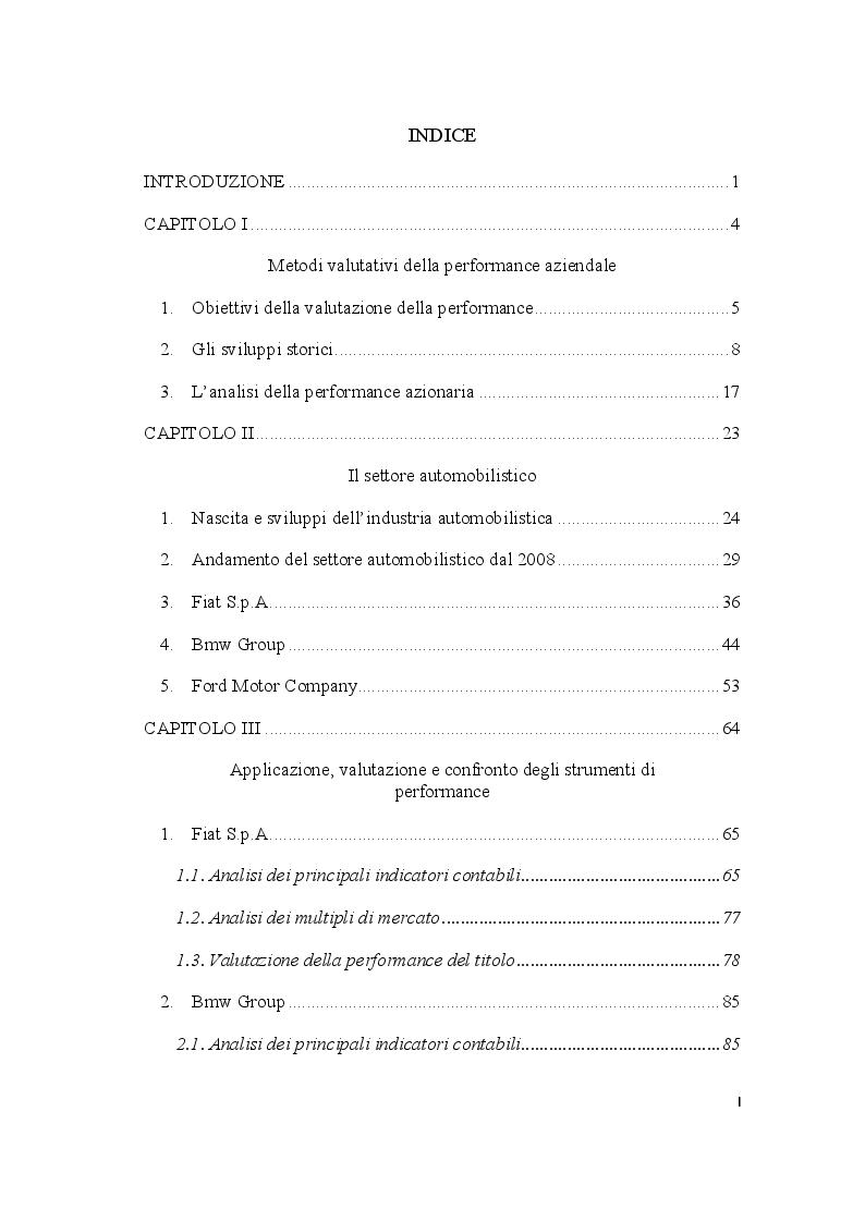 Indice della tesi: Metodi valutativi della performance: l'analisi del settore automobilistico, Pagina 1