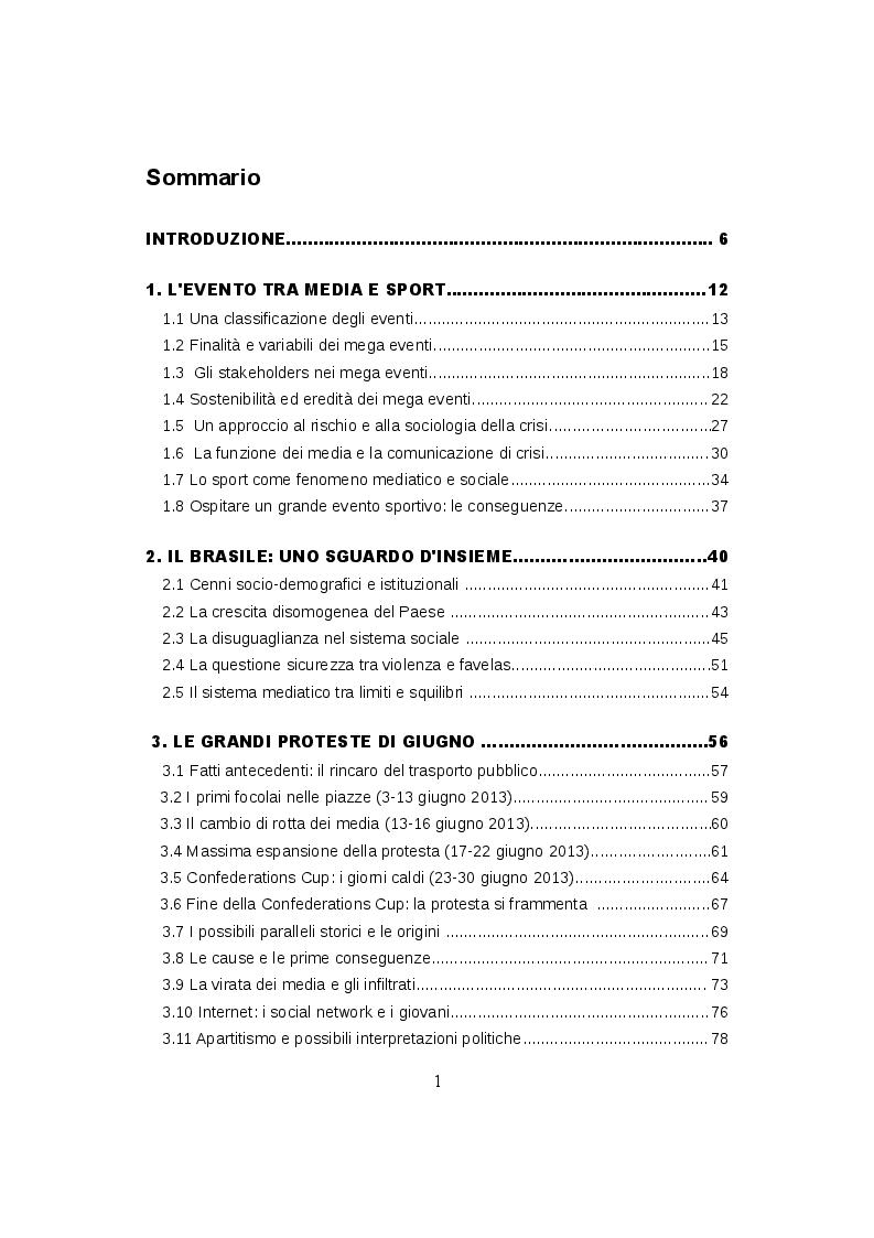Indice della tesi: Mondiali e Olimpiadi: gli occhi dei media sul Brasile, Pagina 1