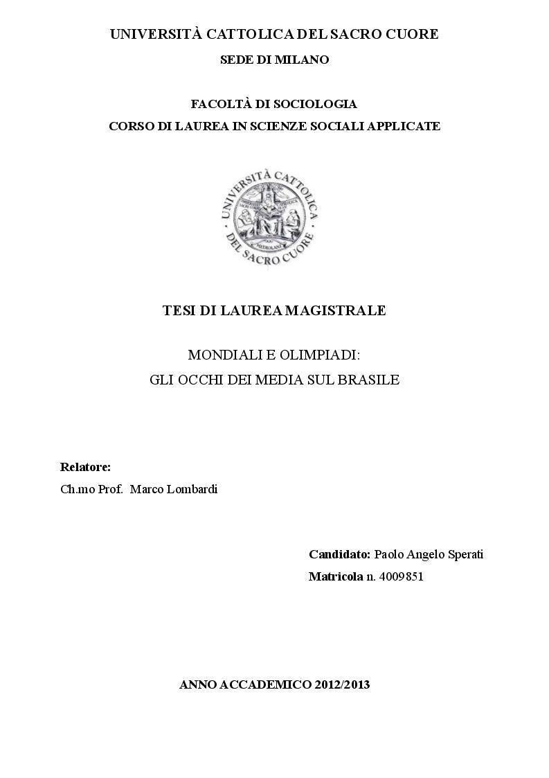 Anteprima della tesi: Mondiali e Olimpiadi: gli occhi dei media sul Brasile, Pagina 1