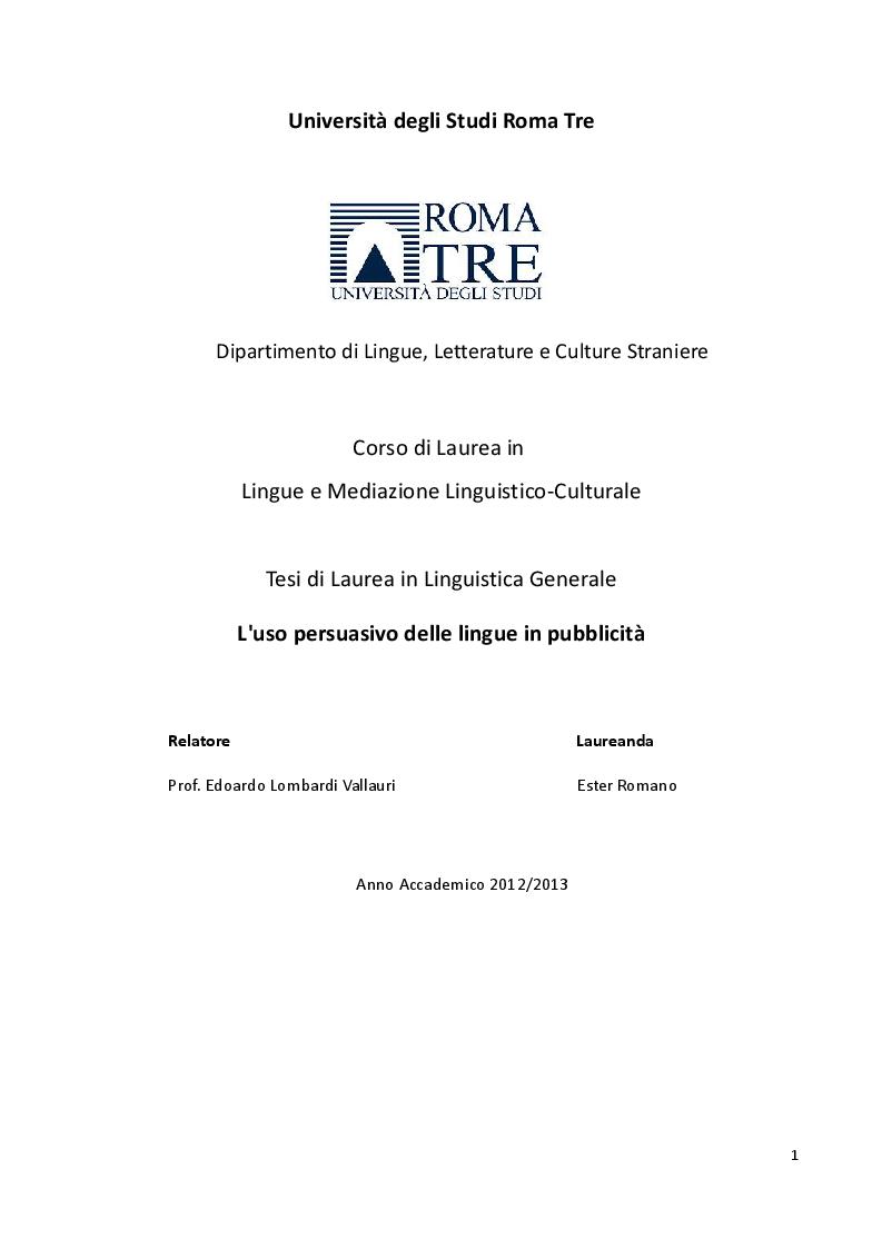 Anteprima della tesi: L'uso persuasivo delle lingue in pubblicità, Pagina 1