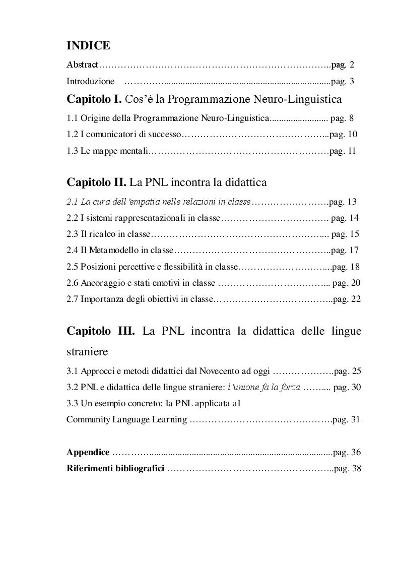 Indice della tesi: Programmazione Neuro-Linguistica applicata alla didattica delle lingue straniere, Pagina 1