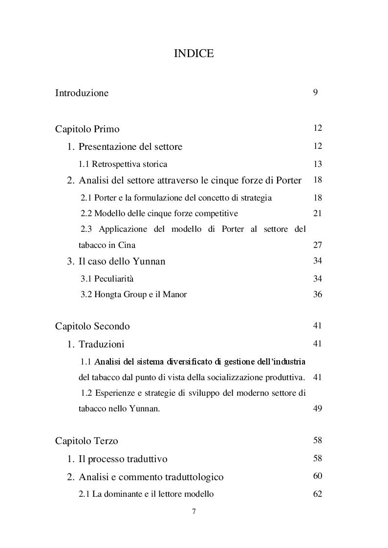 Indice della tesi: L'impero del tabacco, Pagina 1