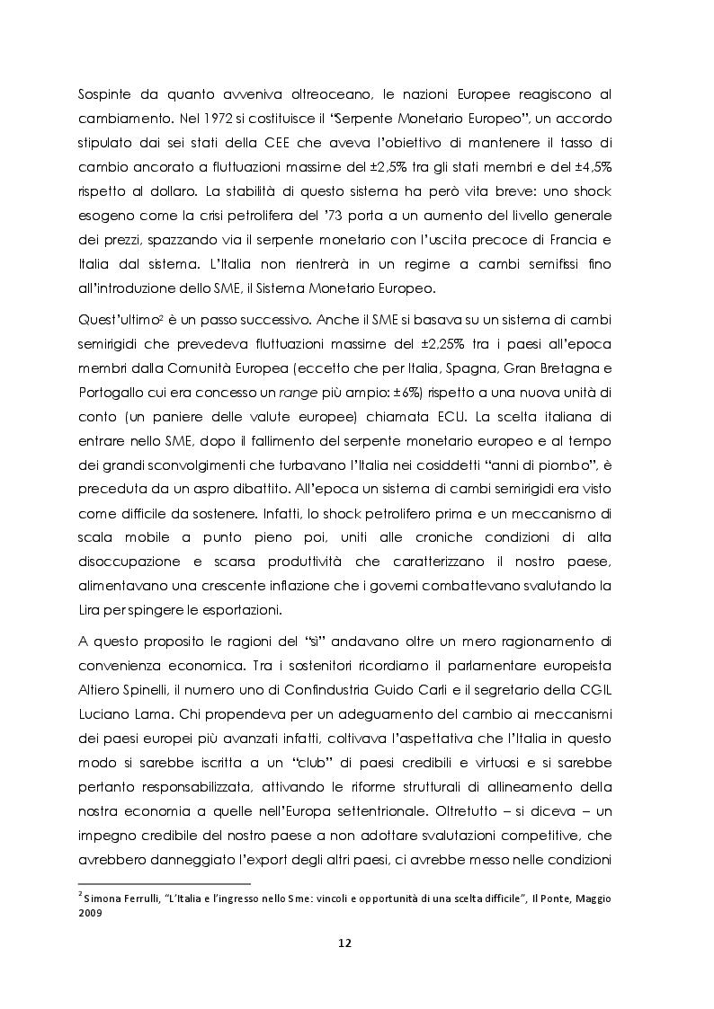 Estratto dalla tesi: Svalutazioni competitive: un'analisi comparata degli effetti su prezzi e quantità. Il caso italiano